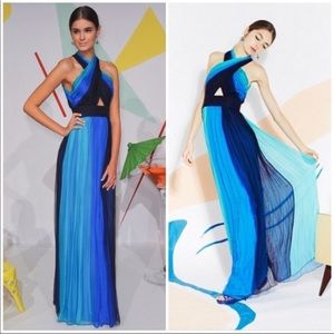 "Alice + Olivia ""Jaelyn"" Blue keyhole dress gown 0"
